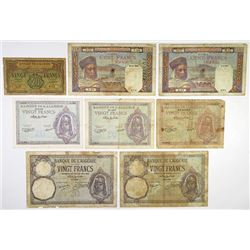 Banque de l'Algerie. 1929-1948. Octet of Issued Banknotes.