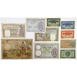 Banque de l'Algerie. 1940-1944. Group of 10 Issued Banknotes.
