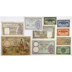 Banque de l'Algerie. 1940-1944. Group of 10 Issued Banknotes.