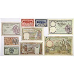 Banque de l'Algerie. 1940-1944. Group of 9 Issued Banknotes.