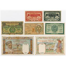 Banque de l'Algerie. 1941-1948. Septet of Issued Banknotes.