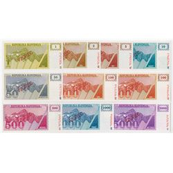 Republika Slovenija. ND (1990-1992). Group of 10 Specimen Notes.