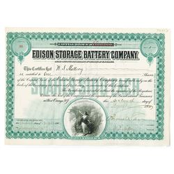 Edison Storage Battery Co., 1910 Stock Certificate Signed by Thomas A. Edison as President.