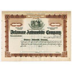 Delaware Automobile Co., 191x (1910-1919) Specimen Stock Certificate.