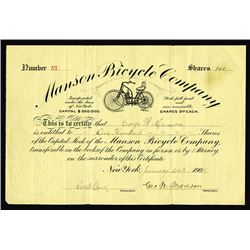 Early Motorcycle Company - Manson Bicycle Co., 1905 I/U Stock Certificate - Possibly the Earliest Mo