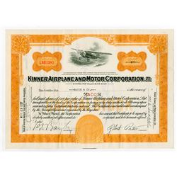 Kinner Airplane and Motor Corporation Stock Certificate.