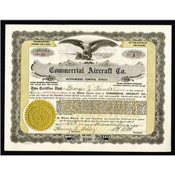 Commercial Aircraft Co., 1920 I/U Stock Certificate
