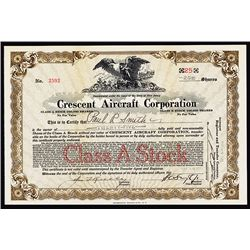 Crescent Aircraft Corp., 1929 Issued Stock Certificate.