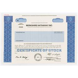 Berkshire Hathaway Inc., Class B Common Stock 1996 Specimen Stock Certificate with 2009 Annual Repor
