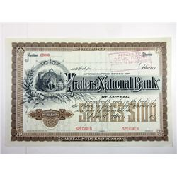 Traders' National Bank, 1900-1920 Specimen Stock Certificate.