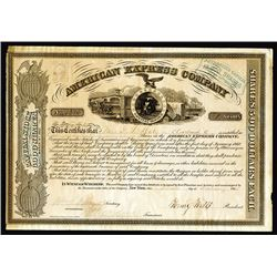 American Express Company, 1865 Stock Certificate With Wells & Fargo Signatures.