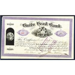 Bulls Head Bank, 1875 I/C Stock Certificate.