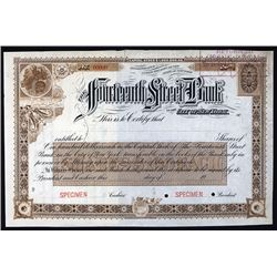 Fourteenth Street Bank in the City of New York, 1900-1905 Specimen Stock Certificate.