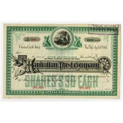 Manhattan Trust Co., ca.1870-1900 Specimen Stock Certificate