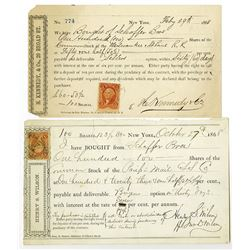 Stock Options Pair, 1868 Issued Stock Options.