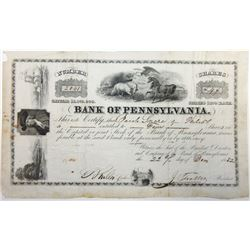 Bank of Pennsylvania, 1852 I/U Stock Certificate.
