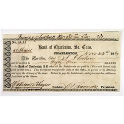 Bank of Charleston 1869. Issued Stock.