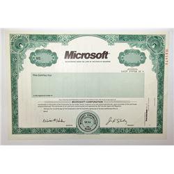 Microsoft Specimen Stock, 1990 Specimen Stock Certificate.