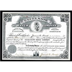 Excelsior Watch Co. 188o's Issued but Undated Stock Certificate.