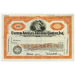 United Artists Theatre Circuit, Inc. 1926 Specimen Stock Certificate founded by Mary Pickford and Do