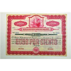 Banco Hipotecario de Bogota 1900-20 Specimen Bond.
