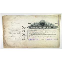 Colombia Syndicate, ND (ca.1920-30) Proof Stock Certificate.
