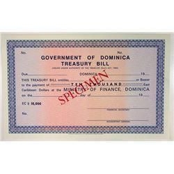 Government of Dominica. ND(1970's). Specimen Treasury Bill.