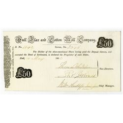 Hull, Flax and Cotton Mill Co., 1853 I/U Stock Certificate Printed on Parchment Type of Paper.