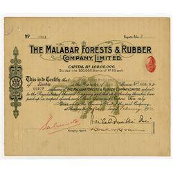 Malabar Forests & Rubber Co. Ltd., 1921 I/U Stock Certificate