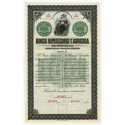 Banco Hipotecario Y Agricola Del Pacifico, S.A., 1913 Specimen Bond Payable in Silver.