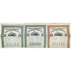 Banco Agricola e Hipotecario de Mexico, S.A. 1907 Specimen Bond Trio.