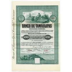 Banco De Tamaulipas S. A. 1907 Bond-Share Specimen.