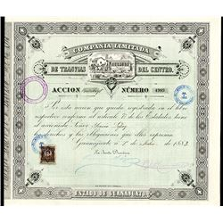 Compania Limitada De Transvias Del Centro, 1883 Share Certificate.