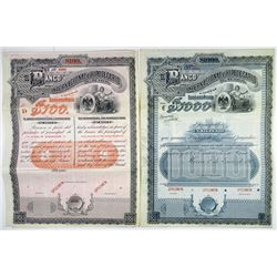 El Banco Internacional e Hipotecario de Mexico, 1905 Pair of Specimen Bonds