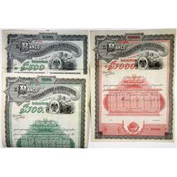 El Banco Internacional e Hipotecario de Mexico, ca.1900-1910 Trio of Specimen Bonds