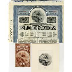 Estado de Zacatecas 1907 1000 Pesos Letter B Specimen Bond and 2 Matching Neptune Proofs.