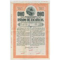 Estado De Zacatecas 1907 1000 Pesos Letter C Specimen Bond.