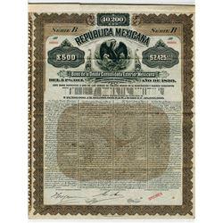 Republica Mexicana, Bono de la Deuda Consolidada Exterior Mexicana, 1899 Specimen Bond