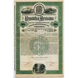 Republica Mexicana, Bonos del Estado de Veracruz 1902 Specimen Bond