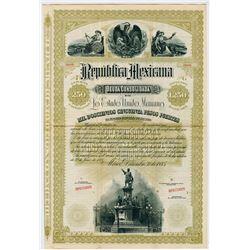 Republica Mexicana. Deuda Consolidada De Los Estados Unidos Mexicanos, 1885 Specimen Bond.