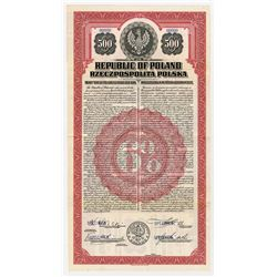 Republic of Poland - USA Dollar, 1920 Gold Coupon Bond