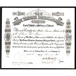 Edison Telephone Company of Glasgow, 1880 Issued Stock Certificate.