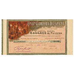 Uni—n Vidriera de Espa–a (Glass Union of Spain) 1908 Issued Stock Certificate