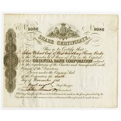 Oriental Bank Corp., 1851 Issued Stock Certificate