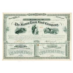 Franco-Texan Land Co., 1876 I/U Stock Certificate