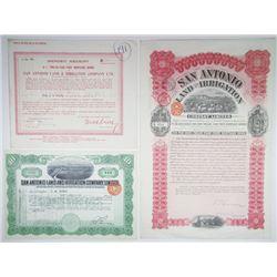 San Antonio Land and Irrigation Co, Ltd., Trio of Issued Certificates ca.1911-1918