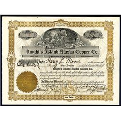 Knight's Island Alaska Copper Co., 1900 I/U Stock Certificate