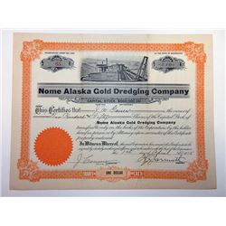 Nome Alaska Gold Dredging Cp., 1915 Stock Certificate.