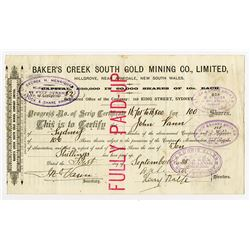 Baker's Creek South Gold Mining Co., Ltd., 1888 Cancelled Stock Certificate