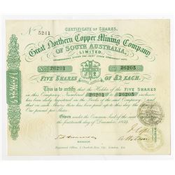 Great Northern Copper Mining Co. of South Australia, Ltd., 1859 Issued Stock Certificate